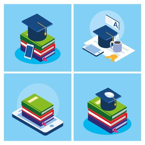 educação on-line conjunto de ícones vetor