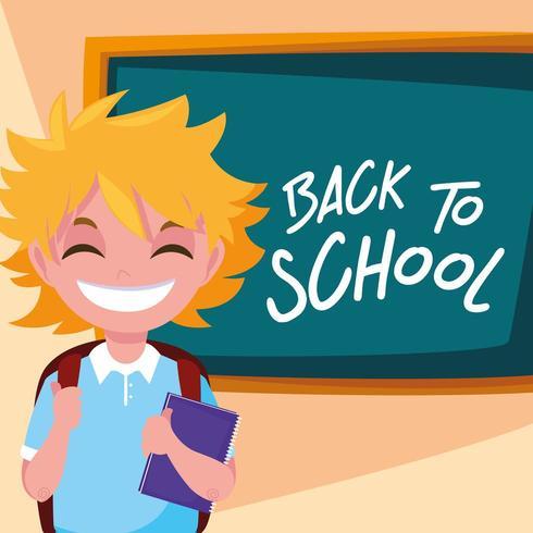 menino estudante bonitinho no cartaz de volta às aulas vetor