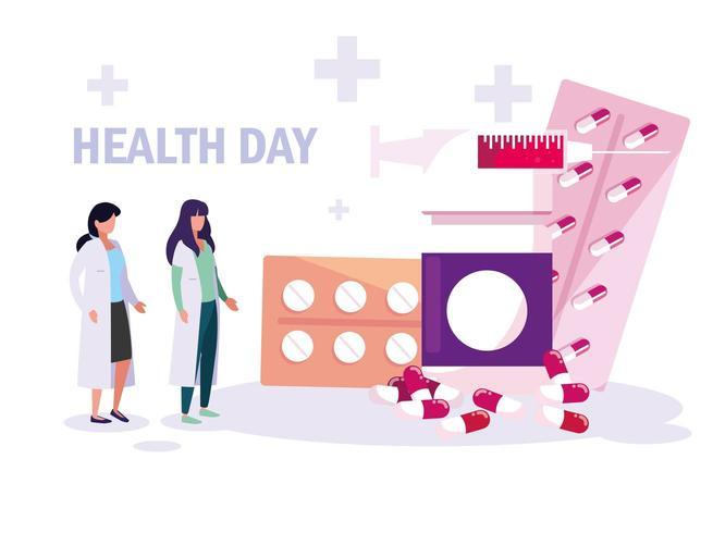 cartão do dia mundial da saúde com médicos mulheres e medicamentos vetor