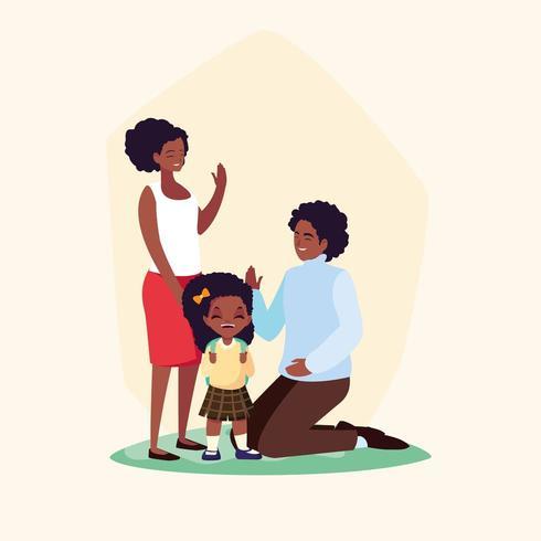 menina bonitinha aluna com os pais vetor