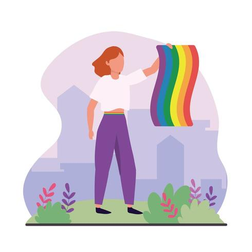 mulher com arco-íris LBBTQ bandeira celebração vetor