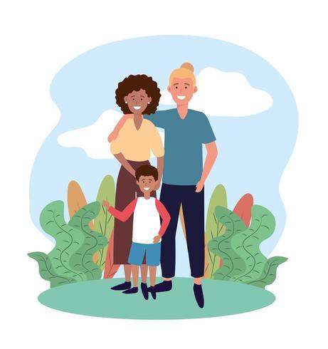casal mulher e homem com seu filho lindo vetor
