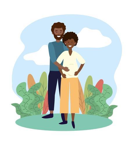 sorriso mulher e homem casal grávida de plantas vetor