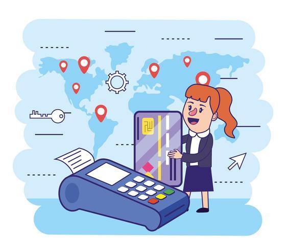 mulher com cartão de crédito e telefone eletrônico vetor