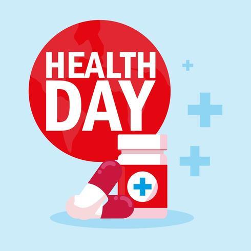cartão do dia mundial da saúde com medicamentos de garrafa vetor