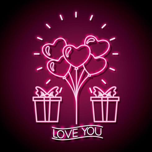 feliz dia dos namorados sinal de néon com presente e coração em forma de balões vetor