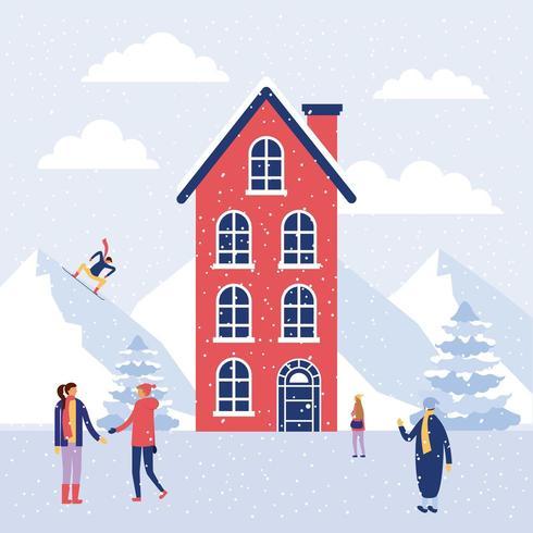 Pessoas na neve durante o inverno vetor