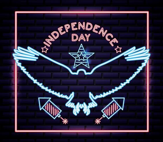 dia da independência americana de néon com águia e fogos de artifício vetor