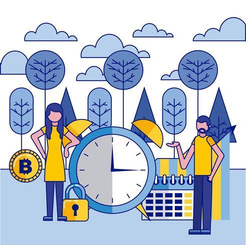 mulher e homem com relógio grande, calendário e bitcoin vetor