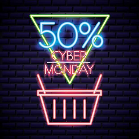 cyber segunda-feira cesta de compras sinal de néon vetor