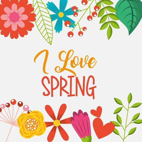 eu amo primavera flores coloridas fronteira vetor