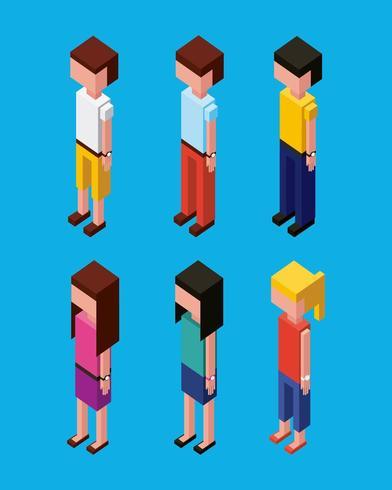 avatares de caracteres isométricos vetor