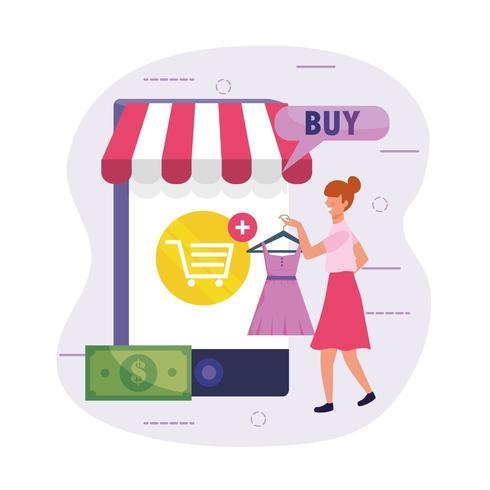 vestido de compras de mulher on-line com tecnologia de smartphone vetor