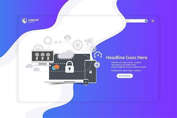 Página de destino do site de design plano com ícones vetor