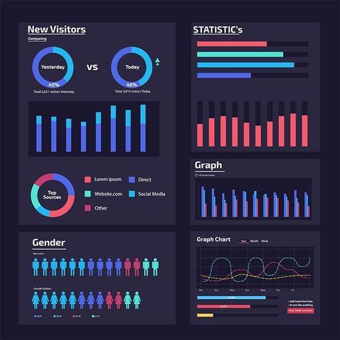 elementos de análise web infográfico vetor