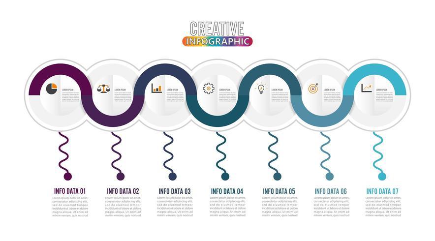 Infográfico de 7 peças e ícones de marketing vetor