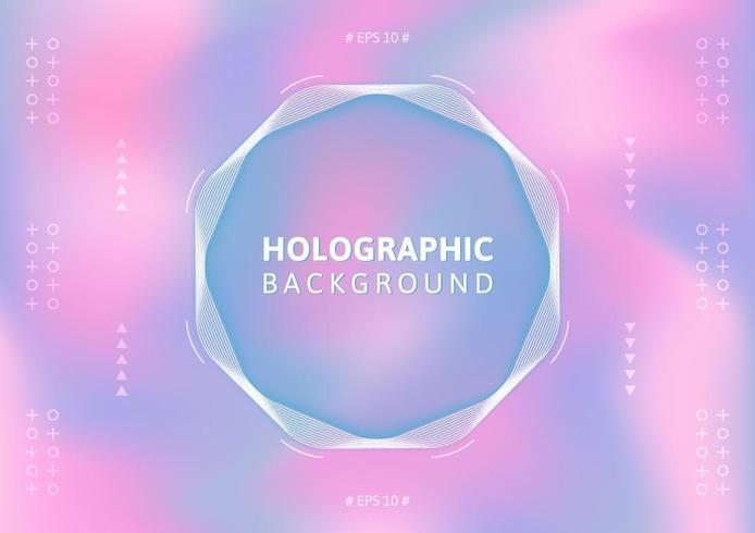 Fundo holográfico em cor pastel. vetor