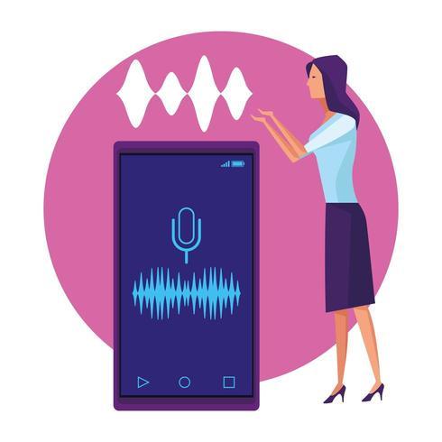 Mulher usando reconhecimento de voz vetor