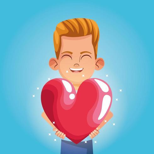Rapaz, sorrindo com desenho de coração grande vetor