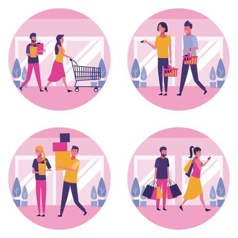 Conjunto de pessoas, fazer compras no shopping vetor