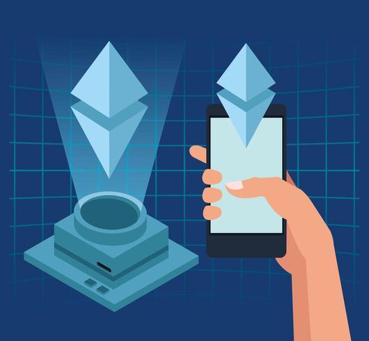 Smartphone e holograma vetor