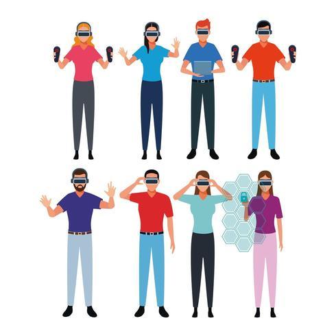 Conjunto de pessoas usando realidade Virtual vetor