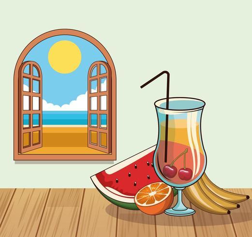 bebida de coquetel tropical com frutas por janela poster vetor