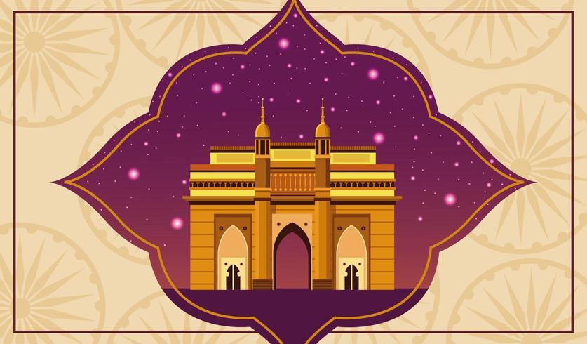 Monumento nacional da Índia, construção de arquitetura com céu noturno vetor