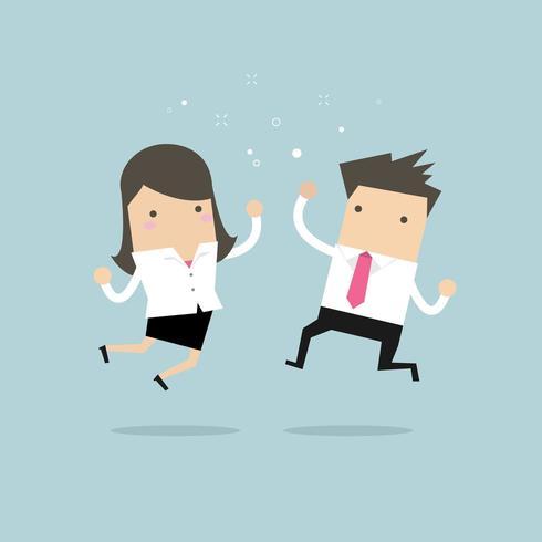 Feliz empresário e empresária pulando. vetor