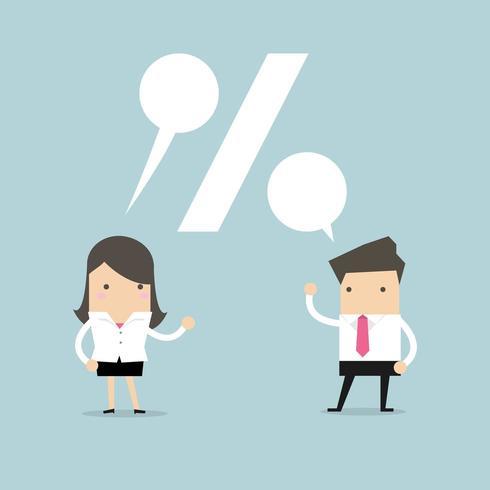 Empresário e empresária falando vetor