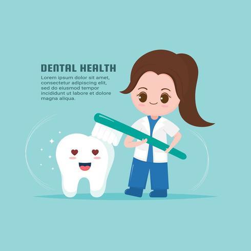 Dentista bonita com conceito de saúde do dente. vetor