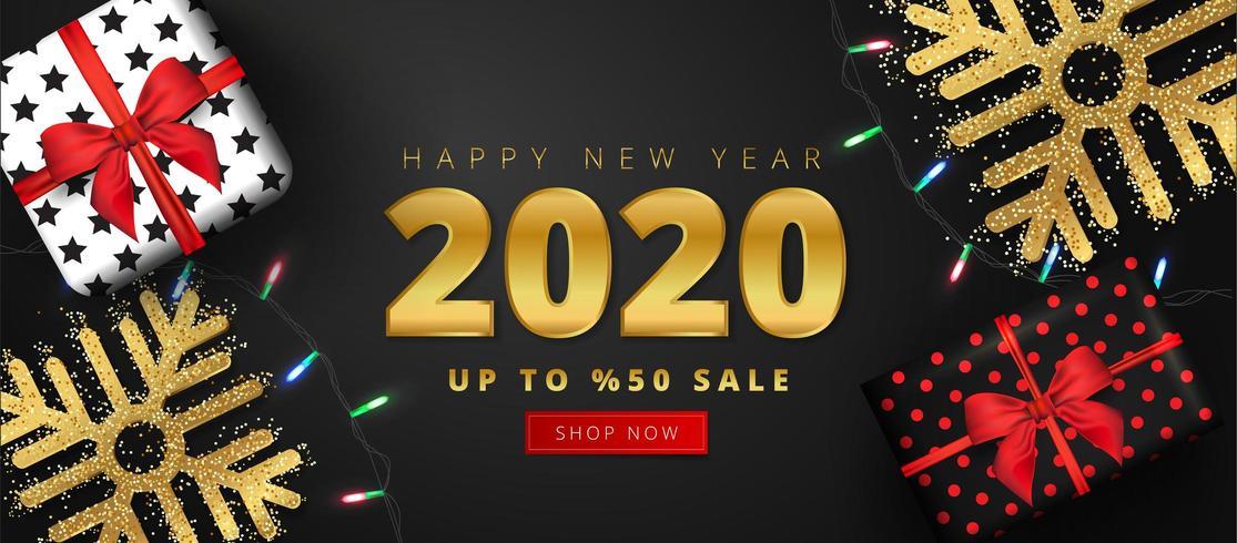 Oferta de 50 descontos para 2020 feliz ano novo venda letras vetor