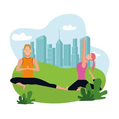 casal fazendo yoga vetor