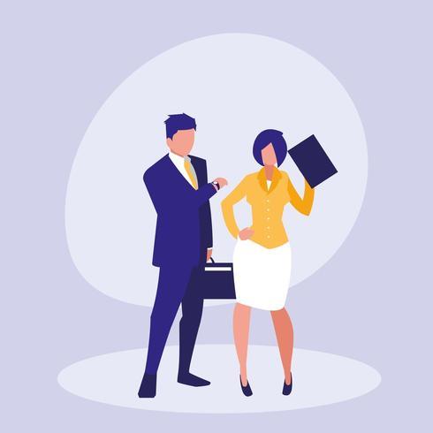 Casal de negócios sobre fundo simples vetor