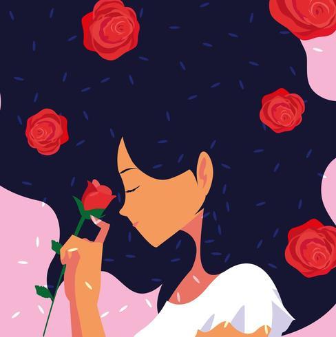 Perfil de mulher com flores vetor