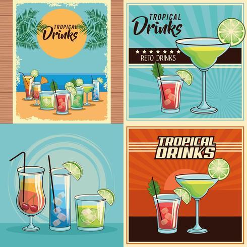 conjunto de cartaz de coquetéis tropicais vetor