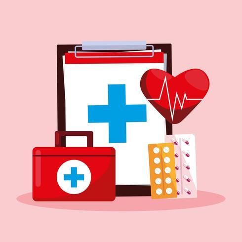 cartão do dia mundial da saúde com prancheta e kit de primeiros socorros vetor