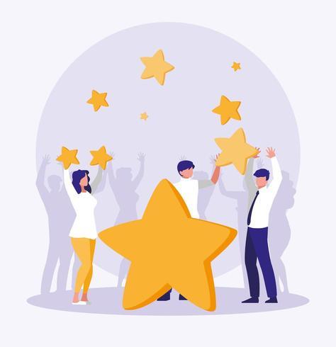 pessoas de negócios comemorando com estrelas vetor