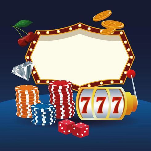 Desenhos animados de jogos de cassino com chips e sinal em branco vetor