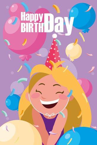 cartão de aniversário com menina comemorando vetor