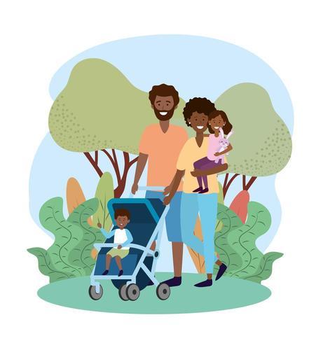 feliz homem e mulher com seu filho no carrinho vetor