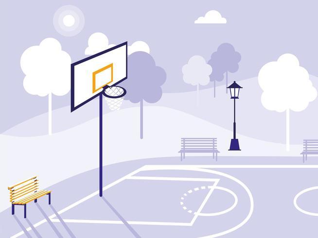 campo de basquete e parque isolado ícone vetor