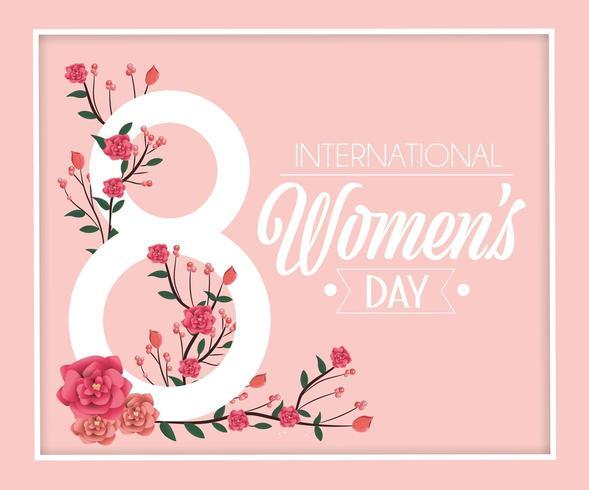 rosas com galhos folhas para celebração do dia das mulheres vetor