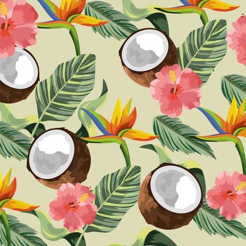 flores tropicais com coco e folhas de fundo vetor