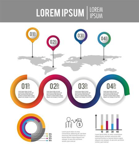 relatório de estratégia de processo de infográfico de negócios vetor