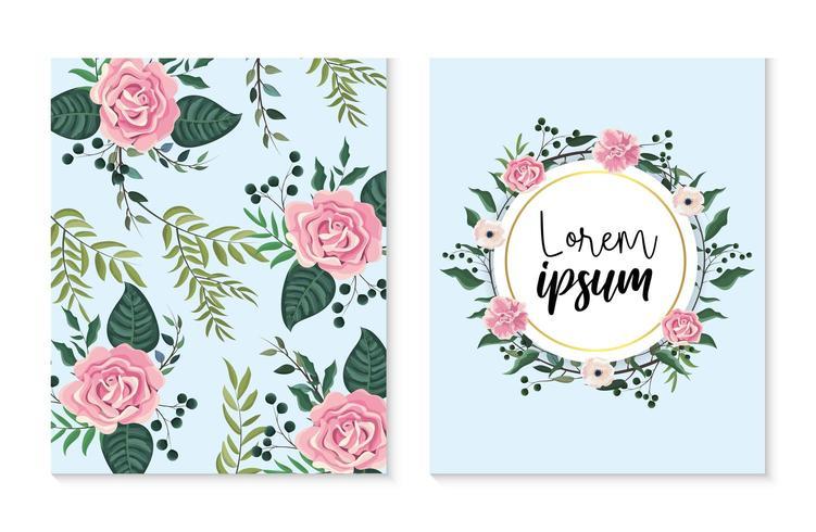 Conjunto de cartão floral e padrão vetor