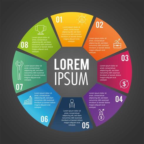 Relatório de negócios circular infográfico com texto vetor