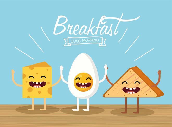 Itens de café da manhã dos desenhos animados vetor