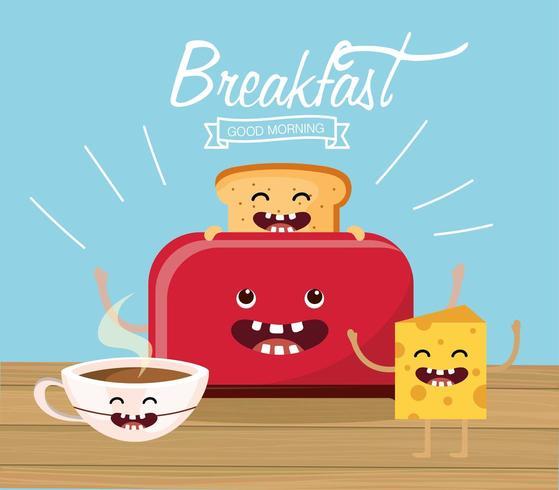 Mensagem de café da manhã feliz pão fatiado dos desenhos animados vetor