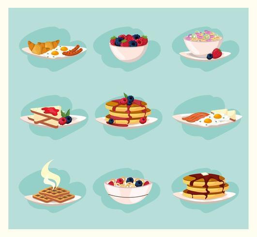 Conjunto de alimentos saudáveis, café da manhã vetor